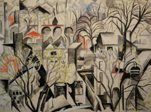 """City Symphony"" ca. 1940 Oil on canvas signed lower right 61 x 80 cm, 24 x 31.5 in"